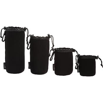 AmazonBasics Water Resistant Neoprene Camera Lens Accessories Protective Case - Set of 4, Black