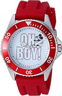 Disney Men's Mickey Mouse Stainless Steel Analog-Quartz Watch with Rubber Strap, red, 21.9 (Model: WDS000696