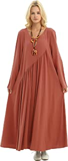 Anysize Sides Seam Pockets Linen Cotton 4-Season Plus Size Clothing Y66