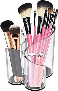CAXXA Acrylic Makeup Brush Holder Handmade, 3 Compartment Desk Organizer Desktop Clear Cosmetics Organizer Lipstick Organizer (Black Base)