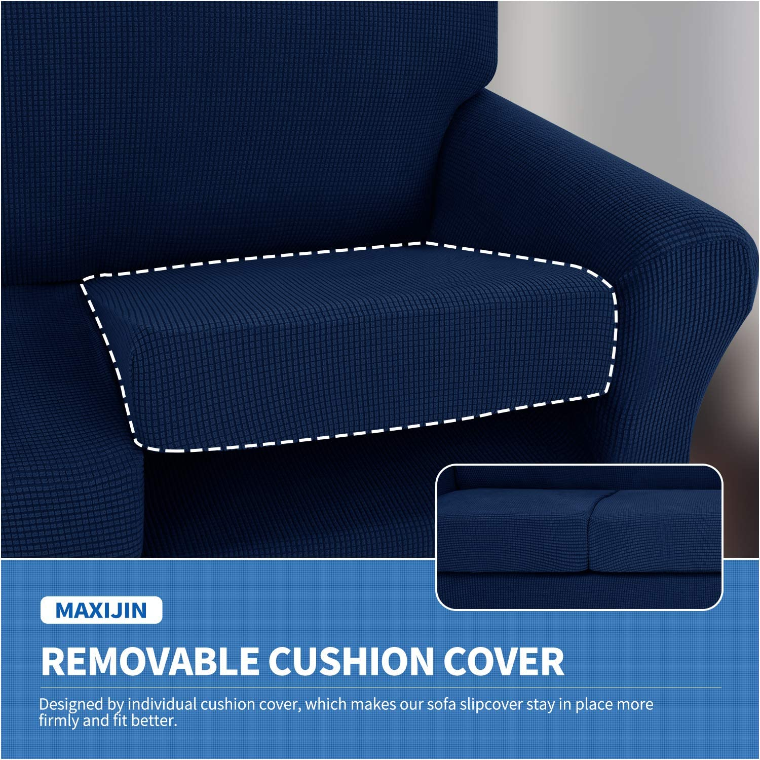 MAXIJIN 3 Piece Couch Covers for 2 Cushion Couch Super Stretch Loveseat Slipcover Dogs Pet Proof Fitted Furniture Protector Spandex Non Slip Sofa Love Seat Cover Washable Loveseat, Black