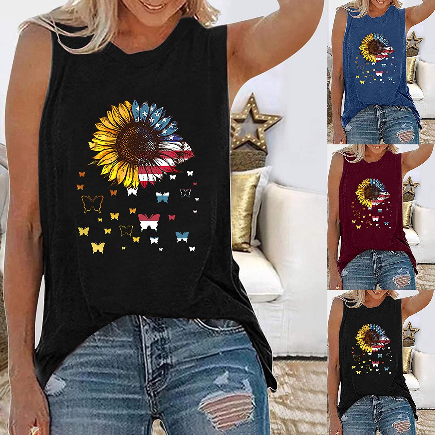 Tank Tops for Women, Sleeveless O-Neck Tunic Blouse Tops Tees Sunflower Printed T Shirts Blouses 4th of July