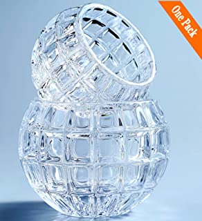 Vimi Crystal Rose Bowl Small Clear Glass Bud Vase Candle Holders Bowl Modern Decorative Round Vase for Living Room Wedding Party Office Bakery and Restaurant (3