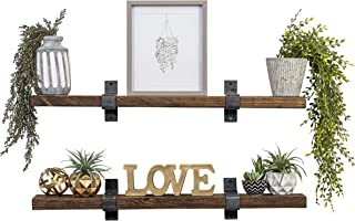 Del Hutson Designs Industrial Grace Floating Shelves (Walnut, 36 Inch)