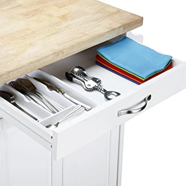 White Kitchen Island Cart with Wheels Wood Top Storage Cabinet Drawer Towel Holder Spice Rack Rolling Utility Shelf Furniture