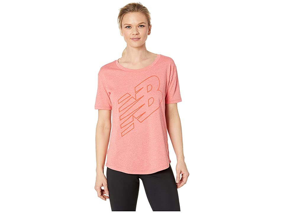 New Balance Heather Tech Graphic Tee (Flame Heather) Women