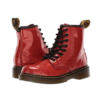 96c8a841191f2 Dr. Martens Kid's Collection 1460 Patent Glitter Junior Delaney Boot  (Little Kid/Big Kid) (Red Multi Coated Glitter) Girls Shoes
