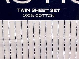 Nautica Blue Lines/Stripes Sheet Set - Twin Size Sheet Set (100% Cotton) White Background