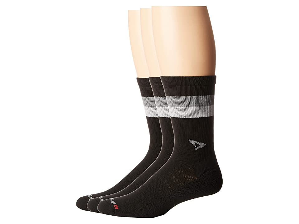 Drymax Sport Run Lite-Mesh Crew 3-Pack (Black/Anthracite/Gray Stripes) Crew Cut Socks Shoes