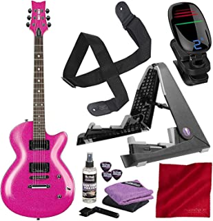 Daisy Rock 6 String Solid-Body Electric Guitar (DR6751-U) with 3D Clip-On Chromatic Tuner, Guitar Stand, and Deluxe Bundle