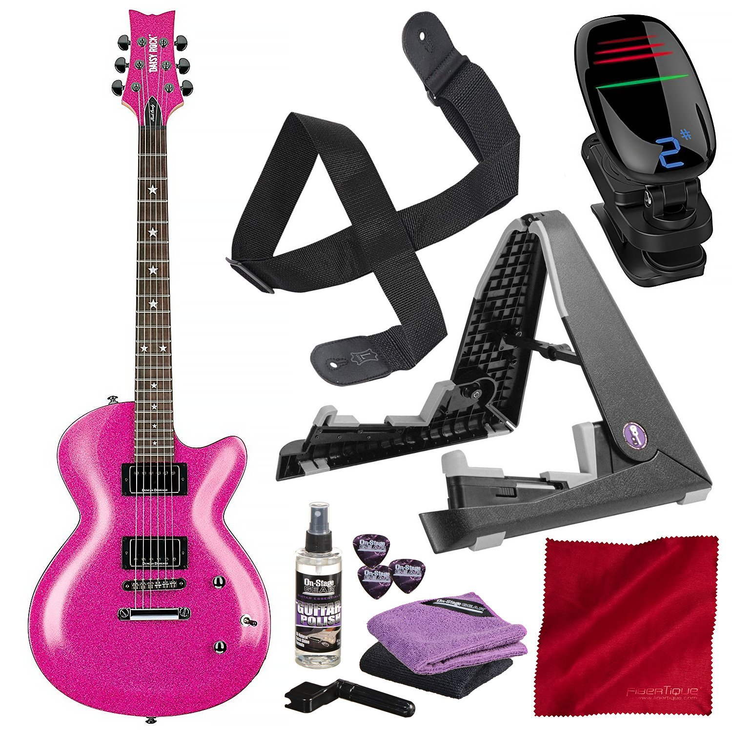 Cheap Daisy Rock 6 String Solid-Body Electric Guitar (DR6751-U) with 3D Clip-On Chromatic Tuner Guitar Stand and Deluxe Bundle Black Friday & Cyber Monday 2019