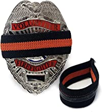 4-Pack Thin Red Line Stripe Black Fireman Badge with Gripper | Shield Funeral Honor Guard Mourning Band Strap 3/4