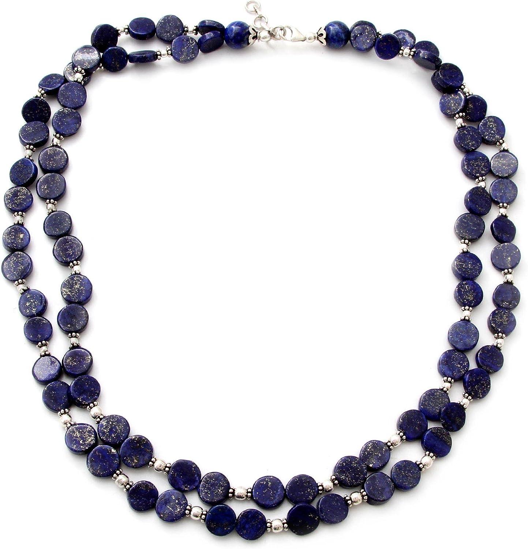NOVICA Lapis Bargain sale Lazuli .925 Sterling Necklace 20.5