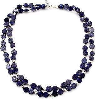 NOVICA Lapis Lazuli .925 Sterling Silver Beaded Necklace, 20.5