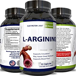 Purest L Arginine Supplement on the Market 60 Capsules – Boost Nitric Oxide Levels, Endurance & Full Time Energy Enhancement – Potent and Effective for Men, Women and Teens – Best L-Arginine