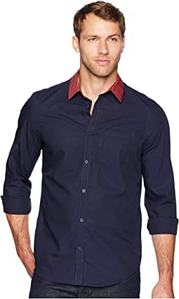 Long Sleeve Stripe Collar Button Down