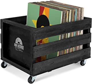 Stagecaptain SPK-100 BK Emil-platenkist - opbergdoos voor maximaal 100 LP's - van massief hout in retro design - 4 bestuur...