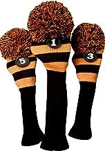 Majek Golf Club Head Covers: Black & Orange Limited Edition Tour Knit Retro Old School Vintage Stripe Pom Pom Throwback Classic Long Neck 460cc Driver Fairway Metal Wood Longneck Woods Drivers Headcovers