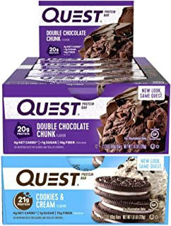 Quest Nutrition Protein Bar Sweet Treats Mix-Up (Double Chocolate Chunk and Cookies and Cream). Low Carb Meal Replacement Bar with Over 20 gram Protein. High Fiber, Gluten-Free (24 Count)