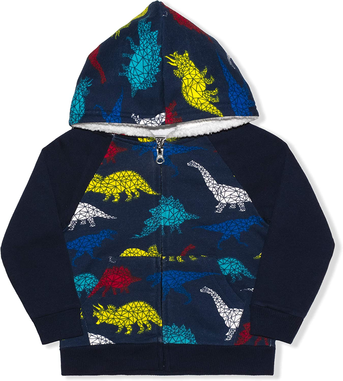 10 Threads Dino Zip Up Hoodie with Pockets for Boys, Front Zip Jacket for Toddlers