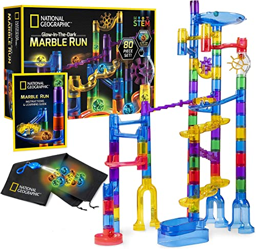 NATIONAL GEOGRAPHIC Glowing Marble Run – 80 Piece Construction Set with 15 Glow in The Dark Glass Marbles & Mesh Stor...