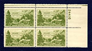 Postage Stamps United States. Plate Block #24416 of Four 3 Cents, Light Olive Green, Carson Valley, c. 1851, Nevada Settlement Issue Stamps, Dated 1951, Scott #999.