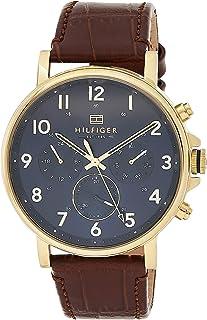 ساعة يد بمينا كحلي وحزام جلدي بني للرجال من تومي هيلفجر - 1710380