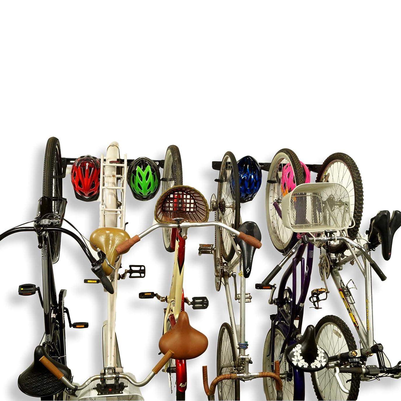 宿る交通渋滞生き物Koova 壁掛け自転車ストレージラック ガレージハンガー 自転車3台+ヘルメット用 大型クルーザー/大型タイヤマウンテンバイクにもフィット 高耐久パウダーコーティングスチール アメリカ製 6 Bike Rack