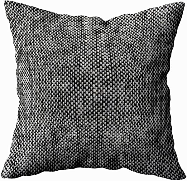 Capsceoll Throw Pillow Cases Charcoal Gray Tweed Fabric Texture Pattern 18x18 Pillow Cover Home Decoration Pillow Cases Zippered Covers Cushion For Sofa Couch