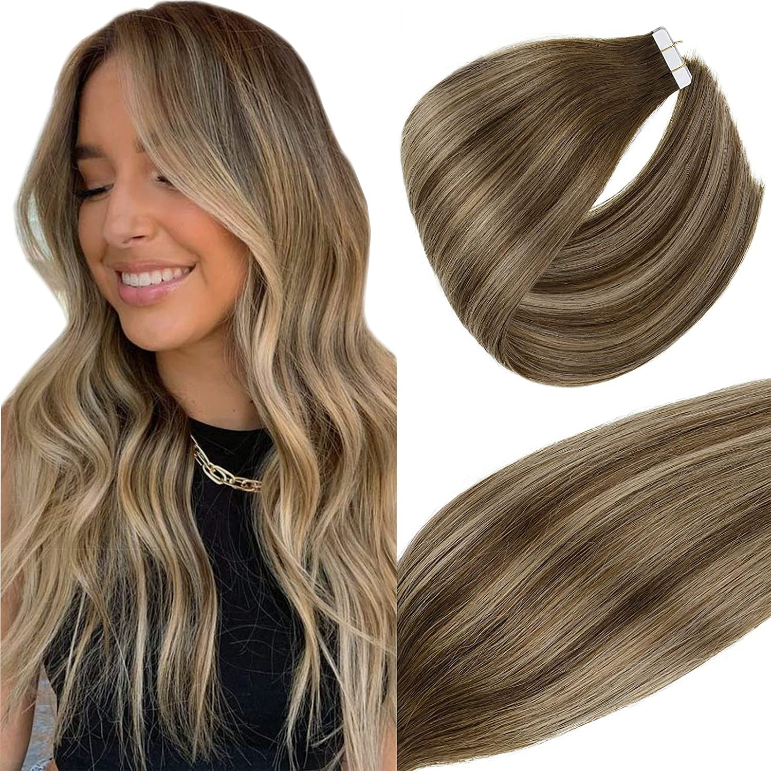 Quantity limited Oakland Mall Vivien Brown Human Hair Extensions in F Balayage Tape Dark