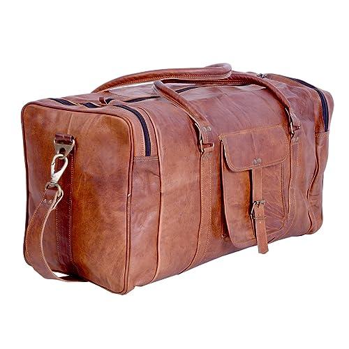 19263601fe0e KPL 21 Inch Vintage Leather Duffel Travel Gym Sports Overnight Weekend Duffel  Bag
