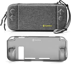 [Combo Set] tomtoc Original Hard Shell Case with Grip Back Cover for Nintendo Switch Console, Travel Carrying Protection Case with 10 Game Card Slots, Gray