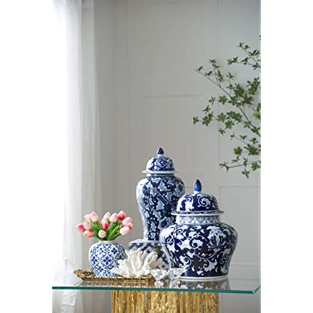 """18"""" Porcelain Jar with Lid - Blue & White Floral Print- Perfect for Any Room in Your Home"""