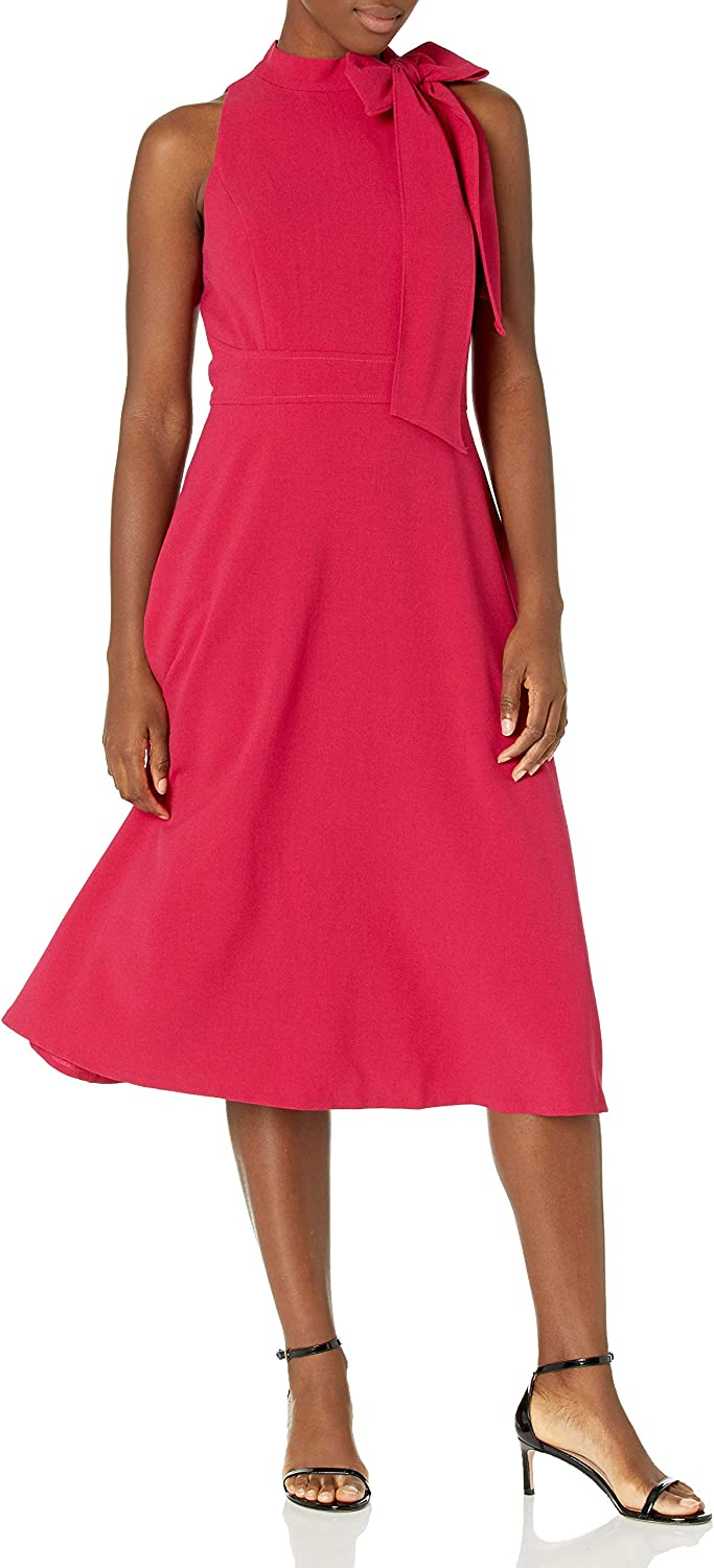 Vince Camuto Women's Midi Bow Flare Dress Phoenix outlet Mall Neck Fit and