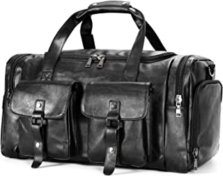 PU Leather Travel Duffel Bag with Shoe Pouch, Carry on Bag Weekender Bag for Men Women
