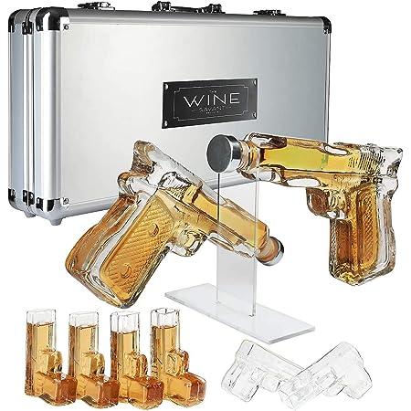 Un Ensemble De 4 Verres /À Whisky avec Gravure-Pistolet /À D/écanteur /À Vin BTASS Ensemble De Carafe /À Whisky,Carafe /À Whisky en Forme De Fusil