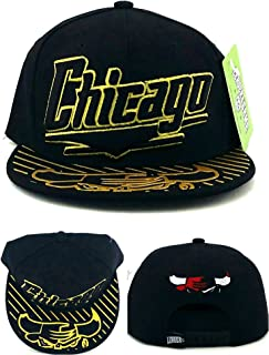 Chicago New Leader Bull Head Limited Edition Chrome Shine Luxe Black Gold Era Snapback Hat Cap