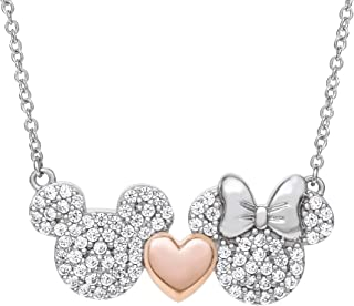 Mickey and Minnie Mouse Sterling Silver Two Tone Cubic...