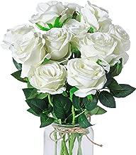 DuHouse 10pcs Silk Roses Artificial Flowers Fake for Arrangement Wedding Party Home Decoration (Off-White Long Stem)