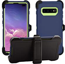 AlphaCell Cover Compatible with Samsung Galaxy S10 Plus / S10+   Holster Case Series   Military Grade Protection with Carrying Belt Clip   Protective Drop-Proof Shock-Proof   Navy/Lime Green