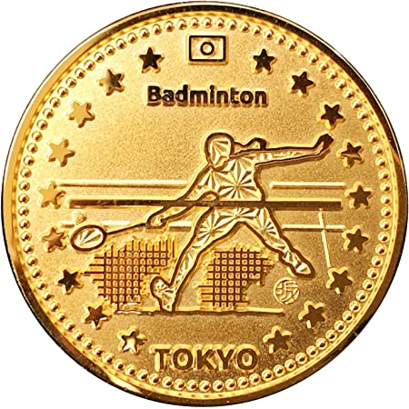 TOKYO SPORTS 記念 アスリートコイン Gold バドミントン Badminton Athlete Coin 高級磨き仕上げ 本金メッキ 日本製 オリジナルケース入り Made in Japan 東京 スポーツ