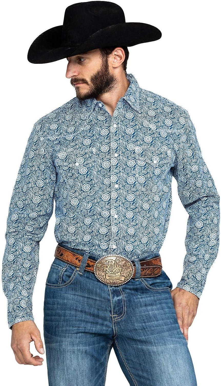 Wrangler Men's 20X Navy Paisley Print Long Sleeve Western Shirt Navy Large