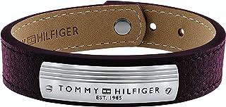 اساور للرجال من الستانلس ستيل والجلد البني من تومي هيلفجر - طراز 2790181