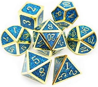 Haxtec Metal Dice Set D&D Sparkling 7PCS DND Dice of D20 D12 D10 D8 D6 D4 for Dungeons and Dragons RPG Games-Glitter Dice (Sapphire(Gold Blue Glitter))
