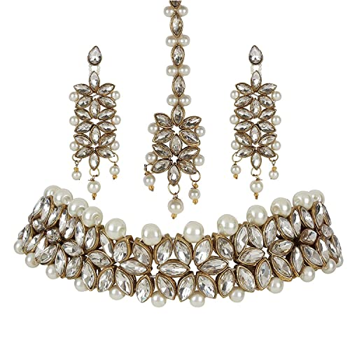 51fabda00 Sadhana Collection Traditional Jewellery Kundan Pearl Necklace Choker Set  With Earrings For Women