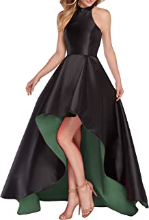 YORFORMALS Women's Halter High Low Satin Prom Dress Asymmetrical Formal Gown Lace up Back