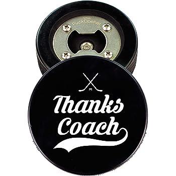 Coach Gift, Hockey Puck Bottle Opener, Thanks Coach, Cap Catcher, Coaster