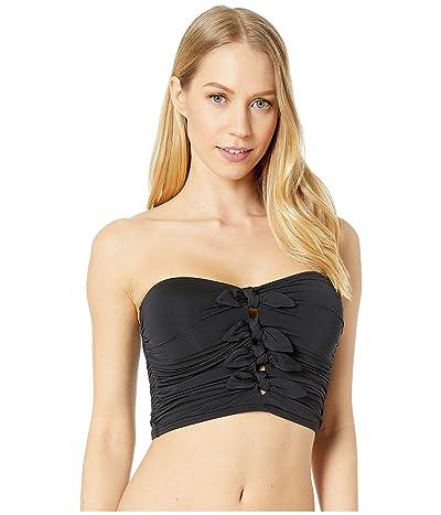 Carmen Marc Valvo Sunlit Seas Ruched Bandeau Crop Top (Black) Women