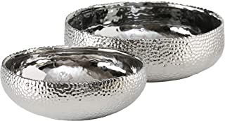 WHW Whole House Worlds Crosby Street Chic Silver Shallow Dish Planters, Cache Pots, Set of 2, Shiny Glazed Exterior, Black Glazed Interior, 11.75 D x 4 H and 9.75 x 3.25 H Inches, Bottom Pads