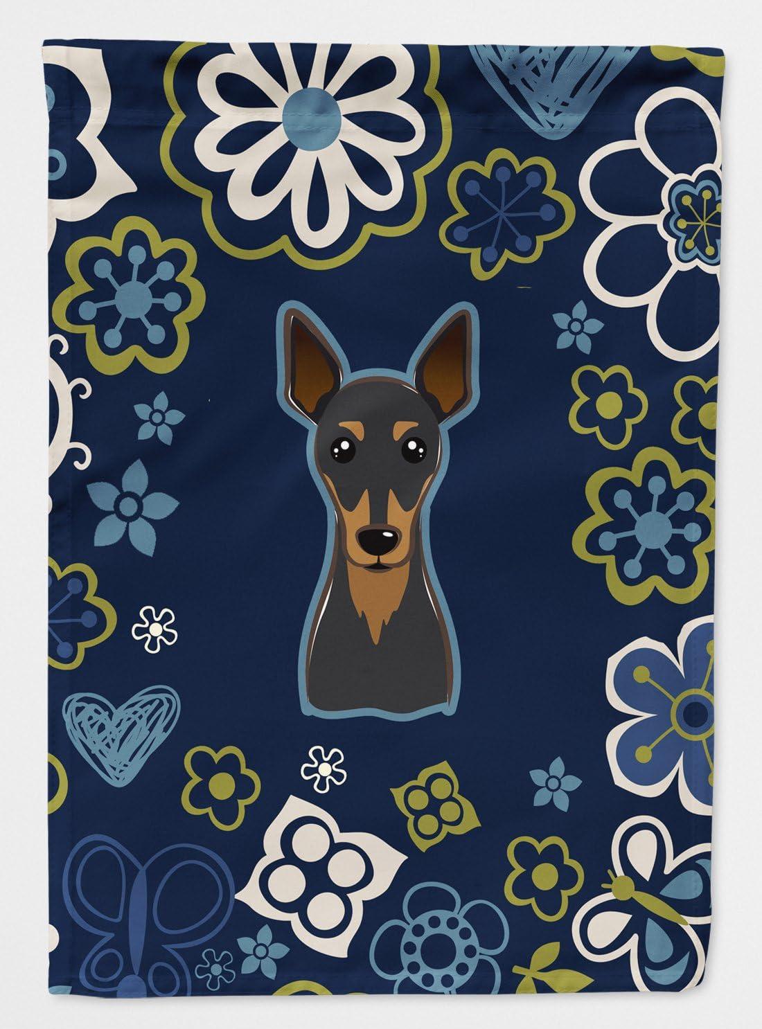 Caroline's Treasures BB5091GF Blue Flowers Min Pin Flag Garden Size, Small, Multicolor